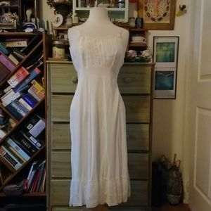 Vintage embroidered white slip dress, wedding